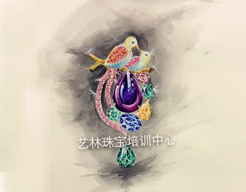水彩作品-鸟